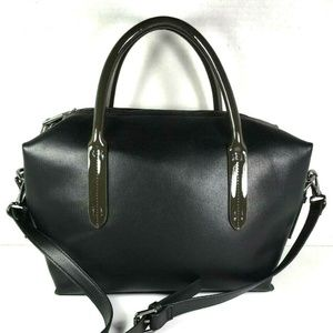 Deux Lux Black Faux Leather Satchel Shoulder Bag